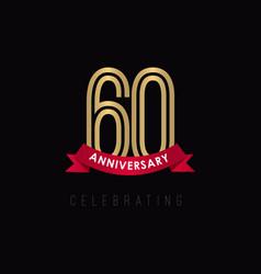 60 year anniversary luxury gold black logo vector