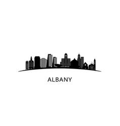 Albany city skyline black cityscape isolated vector