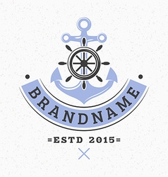 Anchor and helm vintage retro design elements vector
