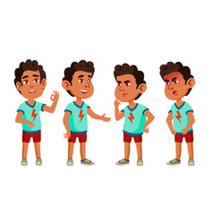 arab muslim boy kindergarten kid poses set vector image