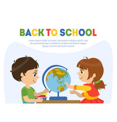 back to school banner template with cute boy and vector image