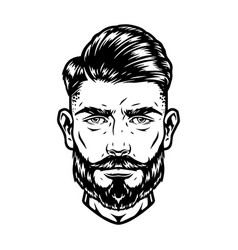 Bearded and mustached handsome man head vector