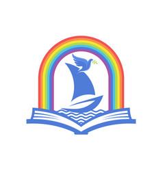 Biblical open bible ark and rainbow vector