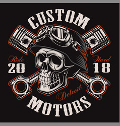 biker skull with crossed pistons t-shirt design vector image