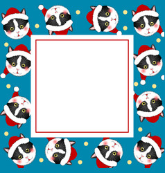 black white cat santa claus on indigo blue banner vector image