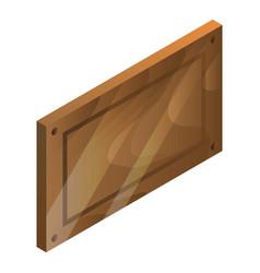 blank wood panel icon isometric style vector image