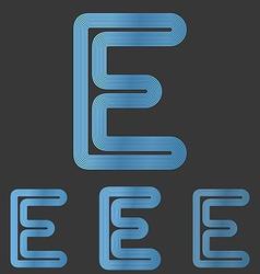 Blue line letter e logo design set vector