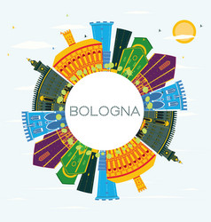 bologna italy city skyline with color buildings vector image