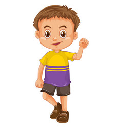 boy wearing t-shirt and shorts vector image