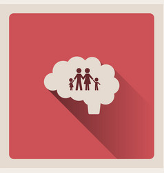 Brain thinking in the family on red background vector