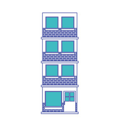 Building facade of four floors in blue and purple vector