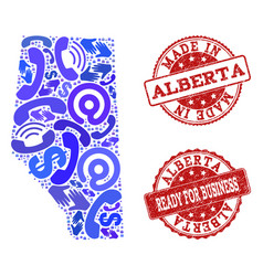 Business contacts collage of mosaic map of alberta vector