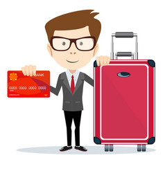 Business man with plastic credit card and suitcase vector