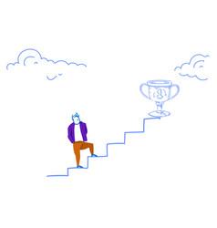 businessman climbing career ladder winner cup vector image
