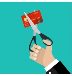 businessman hand hold scissors cutting credit card vector image