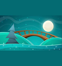 cartoon night landscape moon bridge fir sky vector image