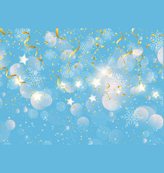 christmas background with gold streamers confetti vector image