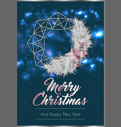 christmas poster or card template with wreath vector image