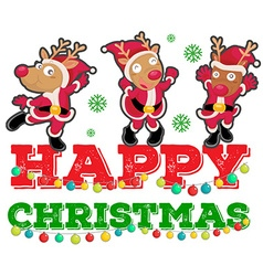 Christmas theme with three reindeers dancing vector