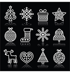 Christmas white icons with stroke on black vector