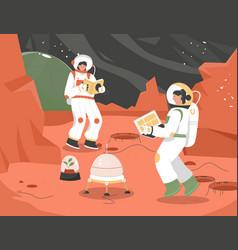 Colonization mission mars scene female vector