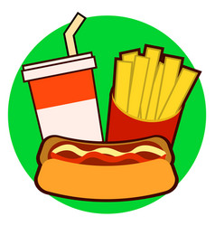 Colorful fast food on tray hot dog french fries vector