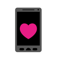 colorful silhouette of smartphone with heart in vector image