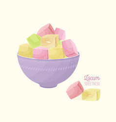 Colorful turkish delight or rahat lokum and nougat vector