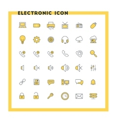 Computer and technology flat design icon set vector image
