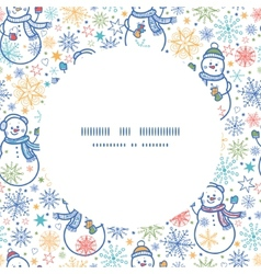 Cute snowmen circle frame seamless pattern vector