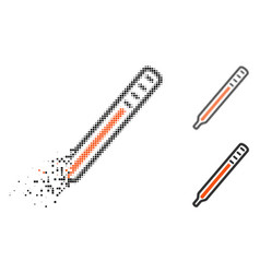 decomposed dot halftone medical thermometer icon vector image