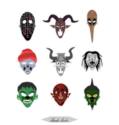 demon monsters and evils halloween masks set vector image