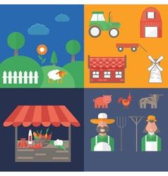 flat design on farm theme vector image