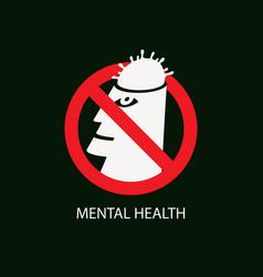 Flat prohibit sign with coronavirus in human head vector
