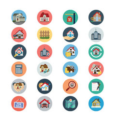 Flat Real Estate Icons 1 vector image