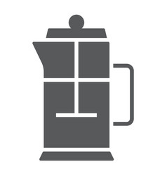 french press glyph icon kitchen and cooking vector image