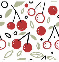 fresh red branches cherries seamless vector image