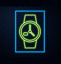 Glowing neon line wrist watch icon isolated on vector