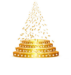 Golden podium with a spotlight on a white vector