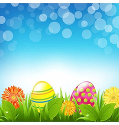 Green Border With Grass And Color Eggs And Bokeh vector