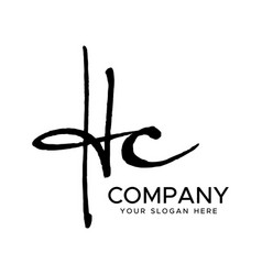 h c initial letter handwriting logo hand l vector image