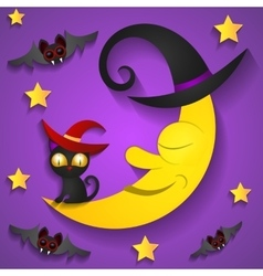 Halloween background with moon in the purple sky vector