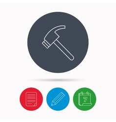 Hammer icon Repair or fix tool sign vector image