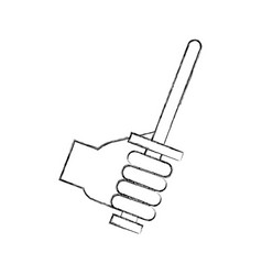 Hand with sword weapon warrior game vector