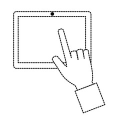 hands using tablet device vector image