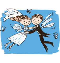 image of flying elves newlyweds vector image