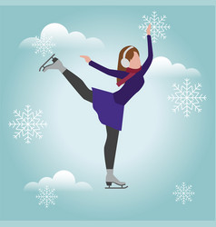 Isometric isolated woman skating cross country vector