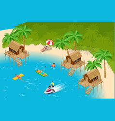 Isometric summer vacation concept summer time vector