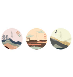 japanese background with asian icon oriental vector image