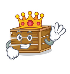 King crate mascot cartoon style vector